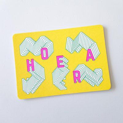 Wenskaart zeefdruk HOERA - geel