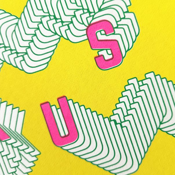 Wenskaart zeefdruk KUS - geel