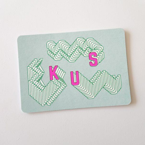 Wenskaart zeefdruk KUS - groen