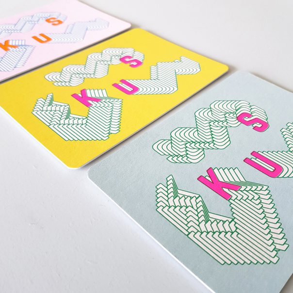 Wenskaart zeefdruk KUS - meerdere kleuren