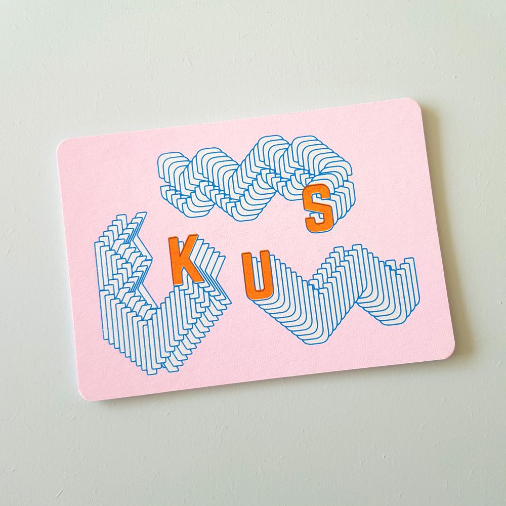 Wenskaart zeefdruk KUS - roze