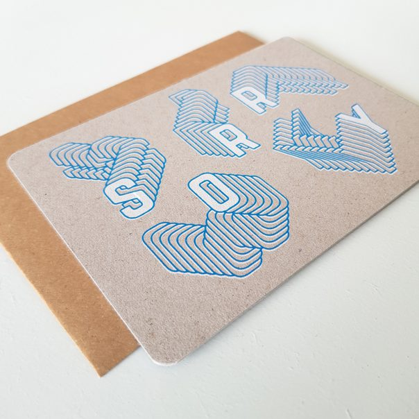 Wenskaart zeefdruk SORRY - grijs karton