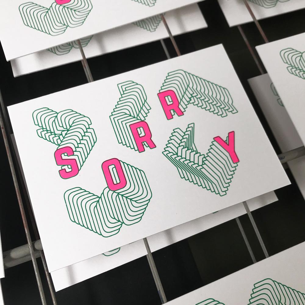 Wenskaart SORRY zeefdrukken