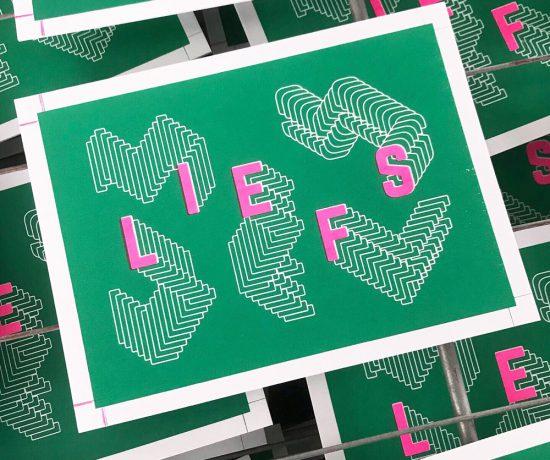 Wenskaart LIEFS zeefdrukken