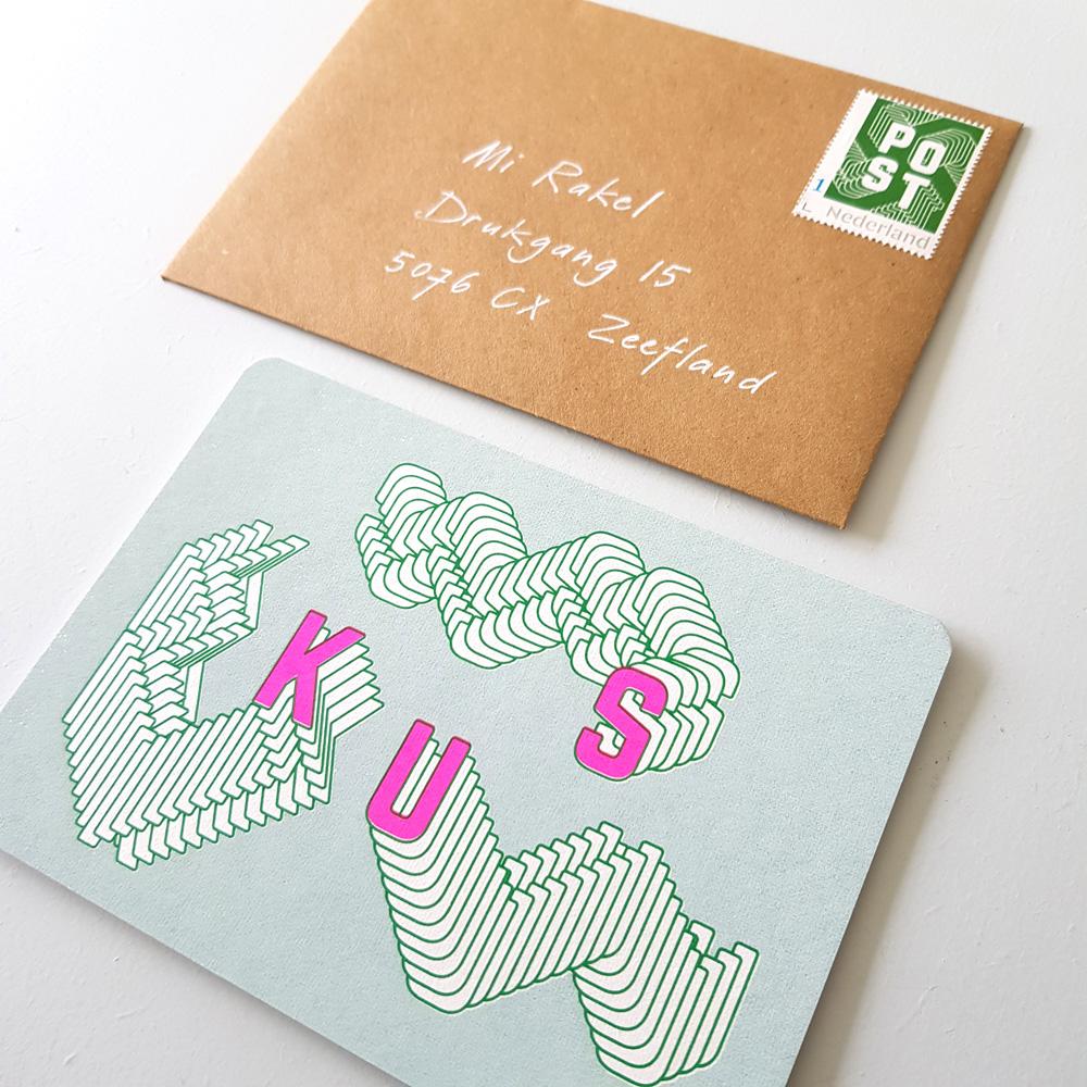 Postzegel in stijl - groen