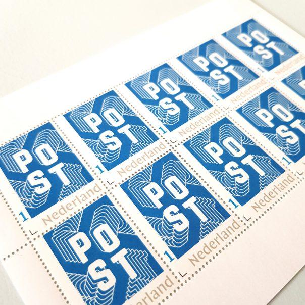 Postzegels in stijl - blauw