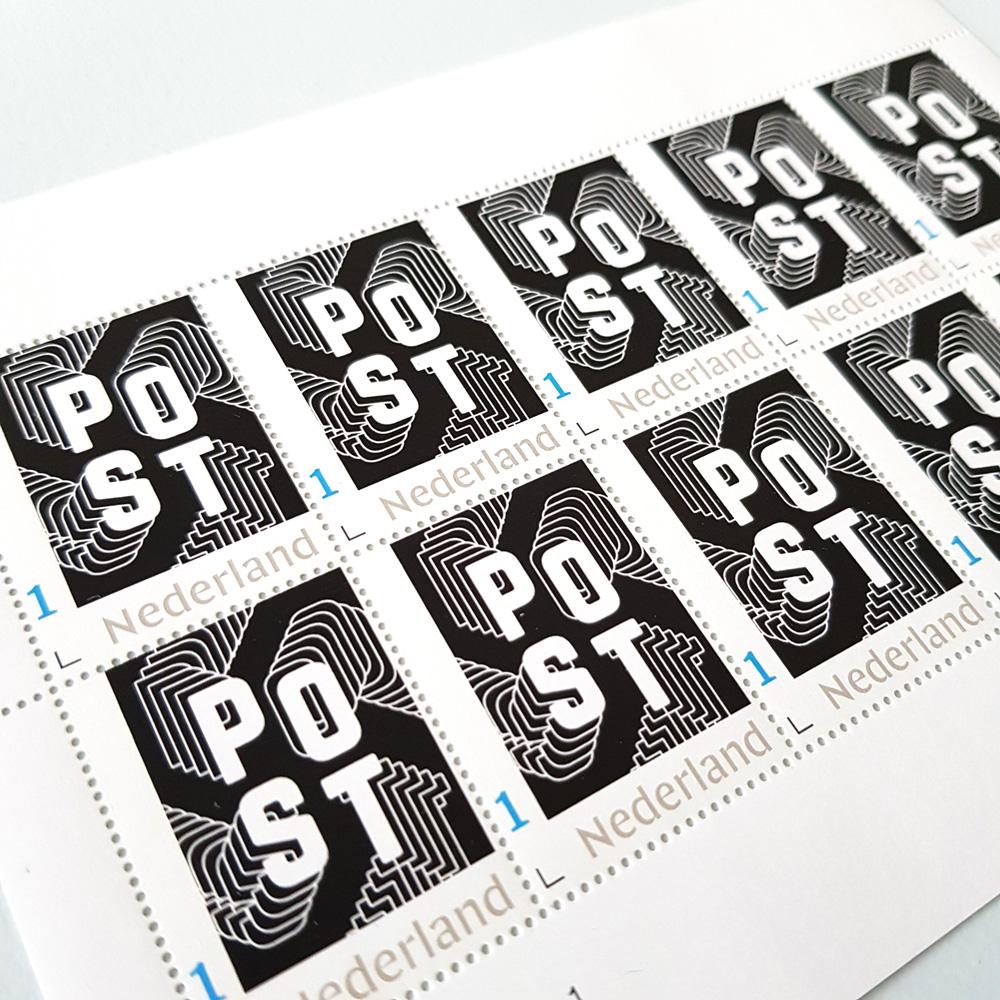 Postzegels in stijl - zwart