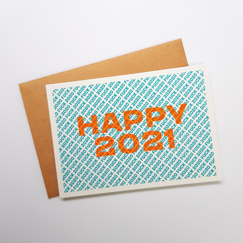 Nieuwjaarskaart Fuck 2020 Happy 2021 blauw oranje