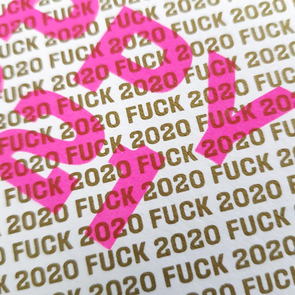Nieuwjaarskaart Fuck 2020 Happy 2021 goud roze